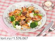 Обжаренные кусочки курицы с овощами, фото № 1576067, снято 19 марта 2010 г. (c) Давид Мзареулян / Фотобанк Лори