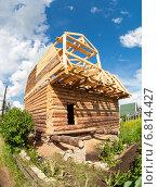 Строительство нового деревянного дома на дачном участке, фото № 6814427, снято 19 декабря 2014 г. (c) FotograFF / Фотобанк Лори
