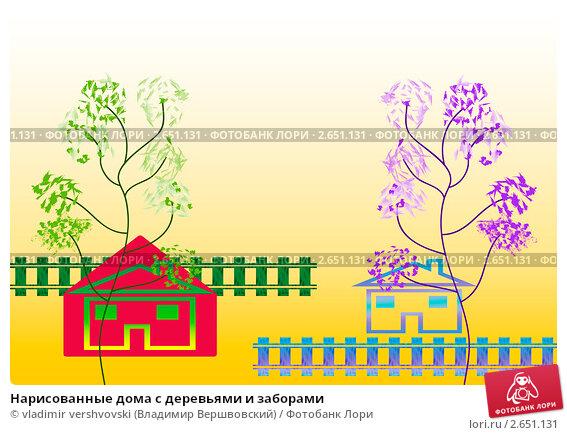 Нарисованные дома с деревьями - 6195f