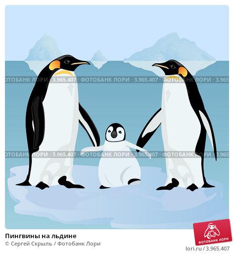 Раскраска пингвина на льдине