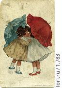 Купить «Две девочки с зонтиками», фото № 1783, снято 19 февраля 2019 г. (c) Retro / Фотобанк Лори