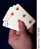 """Купить «Рука держит четыре карточных """"шестерки""""», фото № 15643, снято 23 декабря 2006 г. (c) Александр Легкий / Фотобанк Лори"""