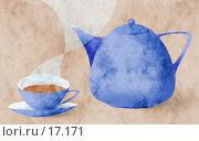 Чашка и чайник на фактурном фоне - коллаж. Стоковая иллюстрация, иллюстратор Tamara Kulikova / Фотобанк Лори