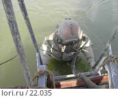 Купить «Спуск водолаза в воду», фото № 22035, снято 20 августа 2006 г. (c) Maxim Kamchatka / Фотобанк Лори