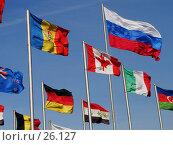 Флаг Российской Федерации и флаги других государств развеваются на ветру. Стоковое фото, фотограф Сайганов Александр / Фотобанк Лори