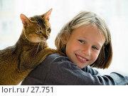 Купить «Девочка и кошка», фото № 27751, снято 25 сентября 2005 г. (c) Vladimir Suponev / Фотобанк Лори