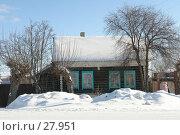 Купить «Частный деревянный дом зимой в сельской местности», фото № 27951, снято 24 сентября 2018 г. (c) Александр Тараканов / Фотобанк Лори