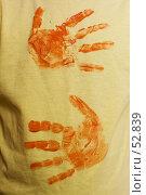 Купить «Отпечаток двух ладошек на ткани», фото № 52839, снято 15 июня 2007 г. (c) Лисовская Наталья / Фотобанк Лори