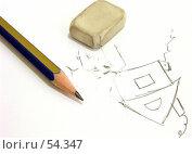 Купить «Резинка, простой карандаш и катышки бумаги», фото № 54347, снято 16 июня 2007 г. (c) Вера Тропынина / Фотобанк Лори