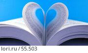 Купить «Страницы книги, сложенные в виде сердца на голубом фоне», фото № 55503, снято 15 января 2007 г. (c) Валерия Потапова / Фотобанк Лори