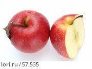 Купить «Два красных яблока в каплях воды», фото № 57535, снято 7 мая 2007 г. (c) Останина Екатерина / Фотобанк Лори