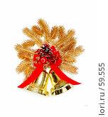 Купить «Золотая лапа с колокольчиками, ленточками и шишками», фото № 59555, снято 8 июля 2007 г. (c) Fro / Фотобанк Лори