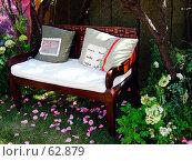 """Купить «Лавочка в саду. """"Неделя садов"""".», фото № 62879, снято 17 июля 2007 г. (c) Тим Казаков / Фотобанк Лори"""