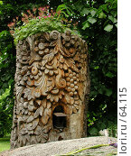 Купить «Деревянная скульптура вырезанная из большого пня старинной липы в историческом центре Софии, Болгария», фото № 64115, снято 22 мая 2004 г. (c) Harry / Фотобанк Лори