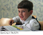 Купить «Первоклассник на уроке», фото № 74571, снято 19 августа 2007 г. (c) Татьяна Белова / Фотобанк Лори
