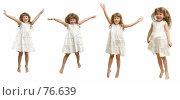 Купить «Проказница. Маленькая девочка танцует, кружится, вращается, позирует на белом фоне в белом платье.», фото № 76639, снято 22 августа 2007 г. (c) Владимир Мельников / Фотобанк Лори