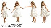 Купить «Маленькая шалунья. Девочка в белом платье на белом фоне.», фото № 76667, снято 22 августа 2007 г. (c) Владимир Мельников / Фотобанк Лори
