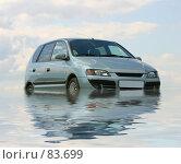 Купить «Светло зеленый автомобиль и его отражение в воде», фото № 83699, снято 22 февраля 2018 г. (c) Елена Блохина / Фотобанк Лори