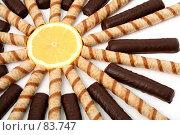Купить «Трубочки с кремом, в шоколаде и долька апельсина», фото № 83747, снято 9 января 2007 г. (c) Александр Паррус / Фотобанк Лори
