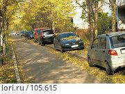 """Купить «""""Тротуар - пешеходная дорожка по сторонам улицы вдоль домов"""".  Ряд автомобилей на пешеходной дорожке», фото № 105615, снято 27 октября 2007 г. (c) Александр Чураков / Фотобанк Лори"""