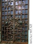 Купить «Кованая железная решетка у входа в старый могильный склеп на кладбище Пер Лашез, Париж», фото № 107127, снято 26 февраля 2006 г. (c) Harry / Фотобанк Лори