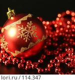 Купить «Красный шар и бусы на темном фоне», фото № 114347, снято 9 ноября 2007 г. (c) Елена Блохина / Фотобанк Лори