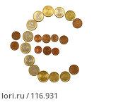 Купить «Знак евро , выложенный монетками», фото № 116931, снято 28 февраля 2006 г. (c) Losevsky Pavel / Фотобанк Лори