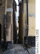 Купить «Стокгольм. Самая узкая улица.», фото № 118555, снято 30 сентября 2007 г. (c) Сергей Лисов / Фотобанк Лори