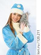 Купить «Снегурочка с новогодней мишурой», фото № 120211, снято 11 ноября 2007 г. (c) Евгений Батраков / Фотобанк Лори