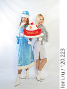 Купить «Снегурочка и Снежинка с подарком», фото № 120223, снято 11 ноября 2007 г. (c) Евгений Батраков / Фотобанк Лори