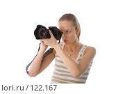 Купить «Женщина с фотокамерой», фото № 122167, снято 1 апреля 2007 г. (c) Валентин Мосичев / Фотобанк Лори