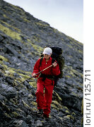 Купить «Турист в Хибинских горах», фото № 125711, снято 17 ноября 2018 г. (c) Александр Максимов / Фотобанк Лори