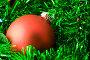 Красный елочный шар на фоне зеленой мишуры, фото № 127331, снято 6 ноября 2007 г. (c) Наталья Герасимова / Фотобанк Лори