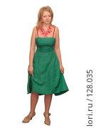 Купить «Молодая женщина в зеленом платье», фото № 128035, снято 28 марта 2006 г. (c) Георгий Марков / Фотобанк Лори
