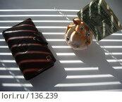 Купить «Тень от жалюзи,кошелек,свинья-копилка с одним долларом», фото № 136239, снято 7 июля 2006 г. (c) Галина  Горбунова / Фотобанк Лори
