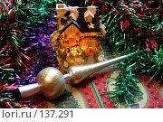 Купить «Новогодние украшения, мишура и разноцветные игрушки», фото № 137291, снято 4 декабря 2007 г. (c) Parmenov Pavel / Фотобанк Лори