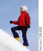 Купить «Девочка на снежном скате», фото № 138659, снято 3 апреля 2005 г. (c) Serg Zastavkin / Фотобанк Лори