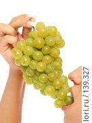 Купить «Девушка с гроздью винограда, на белом фоне», фото № 139327, снято 28 августа 2007 г. (c) Александр Паррус / Фотобанк Лори