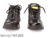 Купить «Пара мужских черных зимних ботинок со шнурками», фото № 161003, снято 26 ноября 2006 г. (c) Александр Паррус / Фотобанк Лори