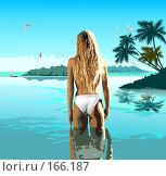 Девушка входит в море. Стоковая иллюстрация, иллюстратор Цепков Андрей / Фотобанк Лори