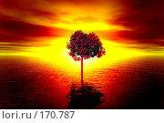 Купить «Одинокое дерево, наводнение, закат», иллюстрация № 170787 (c) ElenArt / Фотобанк Лори