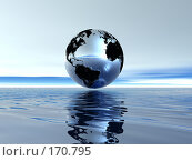 Купить «Земной шар над поверхностью воды», иллюстрация № 170795 (c) ElenArt / Фотобанк Лори