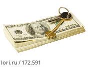 Купить «Ключ и стодолларовые купюры», фото № 172591, снято 27 декабря 2007 г. (c) Олег Селезнев / Фотобанк Лори