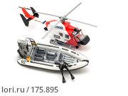 Купить «Вертолет и моторная лодка на белом фоне», фото № 175895, снято 5 января 2008 г. (c) Угоренков Александр / Фотобанк Лори