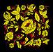 """Узор под названием """"Кудрина"""" в стиле традиционного народного промысла Хохлома на черном фоне, иллюстрация № 176807 (c) Олеся Сарычева / Фотобанк Лори"""