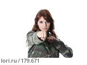 Купить «Агрессивная девушка на белом фоне», фото № 179671, снято 11 июля 2007 г. (c) Efanov Aleksey / Фотобанк Лори