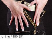 Купить «Девушка демонстрирует маникюр», фото № 180891, снято 30 сентября 2007 г. (c) Королевский Иван / Фотобанк Лори