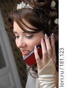 Купить «Невеста принимает поздравления по телефону», фото № 181123, снято 22 декабря 2007 г. (c) Федор Королевский / Фотобанк Лори