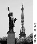 Купить «Статуя Свободы и Эйфелева башня», фото № 185499, снято 6 января 2005 г. (c) Михаил Мандрыгин / Фотобанк Лори
