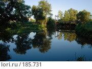 Купить «Тихая заводь с мостом», фото № 185731, снято 11 августа 2007 г. (c) Антон Тарасов / Фотобанк Лори